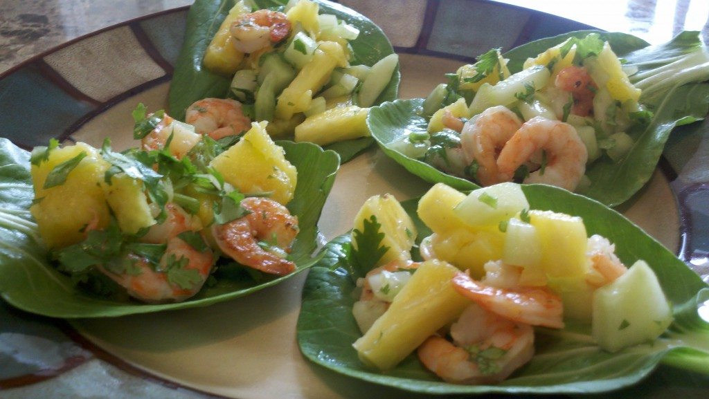 Pineapple Shrimp on Bok Choy